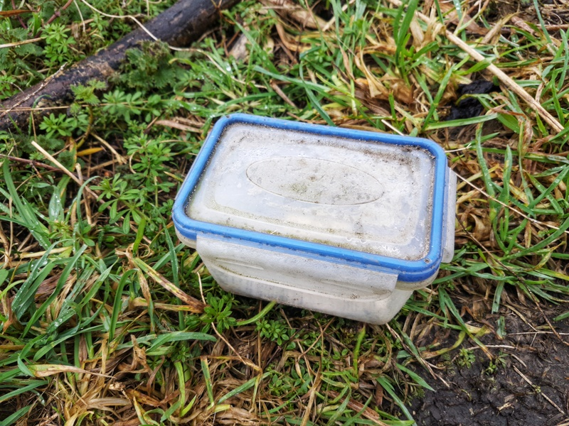 Tupperware box used as a Geocache