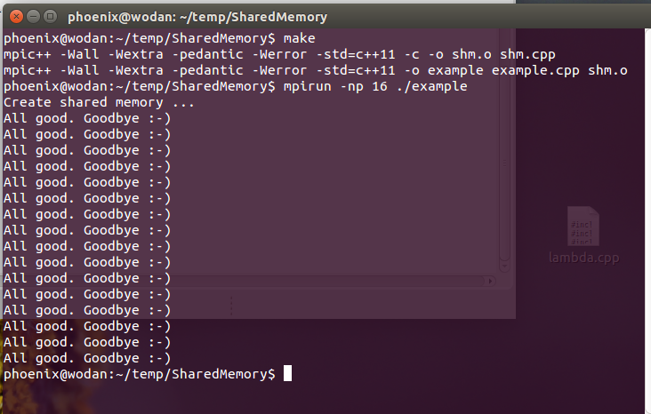 Shared memory example in command line