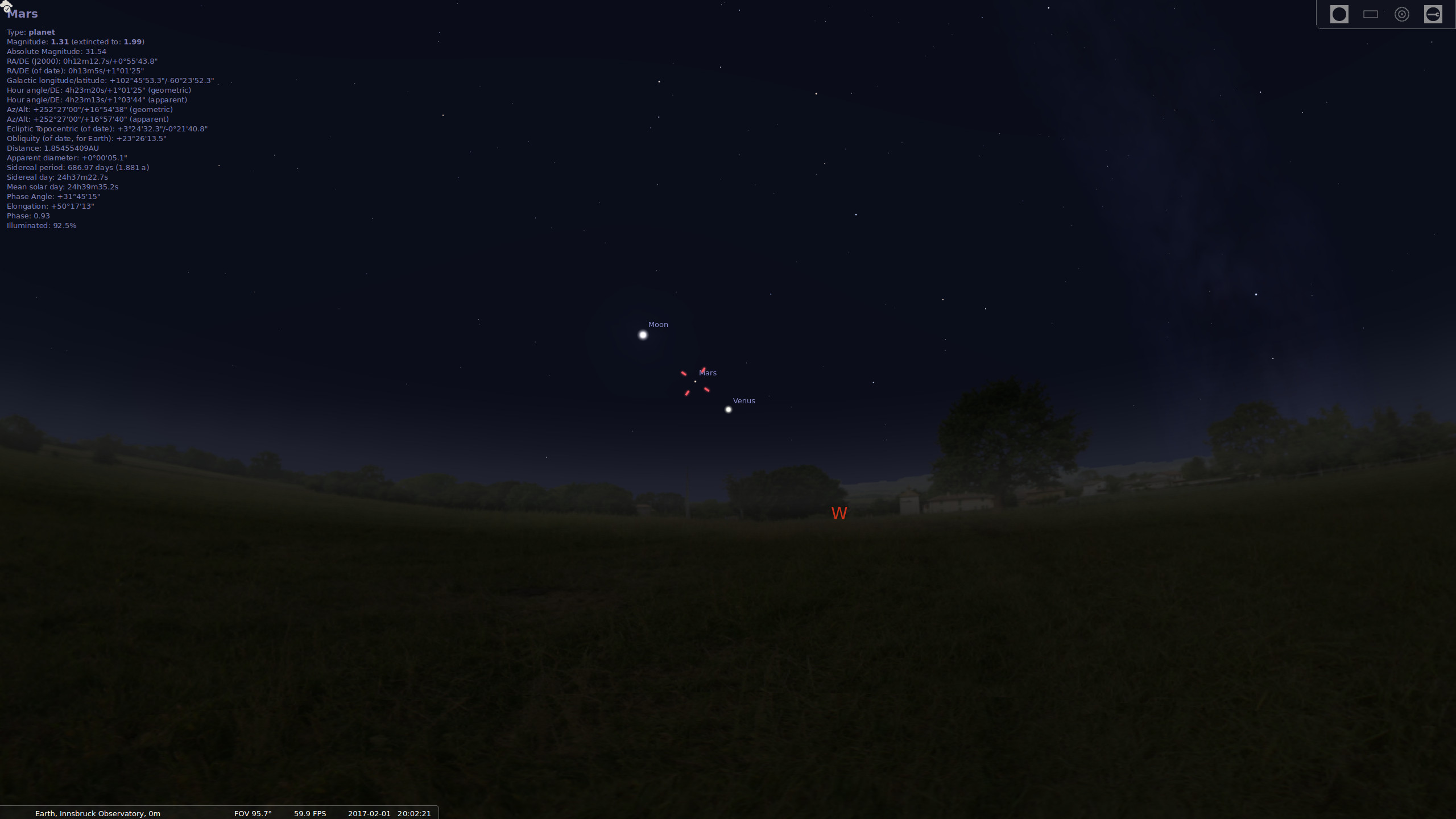 Venus and Mars next to each other in the sky