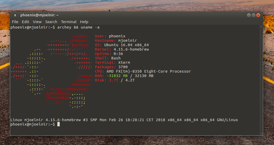 terminal with archy showing the new Kernel version